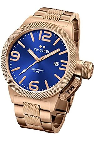 TW Steel Canteen Unisex Automatic Watch with Blue Dial Analogue Display and Silver Rose Gold Bracelet CB185