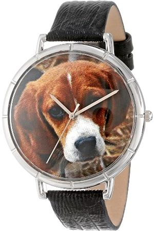 Whimsical Beagle Black Leather and Silvertone Photo Unisex Quartz Watch with Dial Analogue Display and Leather Strap T-0130007