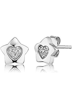 HERZENGEL Heart Star Ear Studs for Girls 925-Sterling Rhodium Plated studded with 7 White Zirconia Size 7 mm