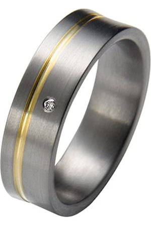 Trauringe Liebe hoch zwei Liebe Women's Promise Ring Titanium with Gold Inserts 1 x Diamond 0.01 ct