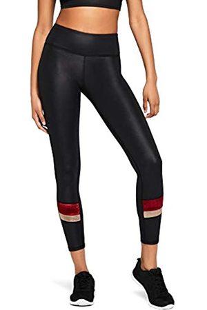 AURIQUE Amazon Brand - Women's Velour Panel Sports Tights, 10