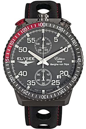 ELYSEE Men's Chronograph Quartz Watch with Leather Calfskin Strap 80517MM