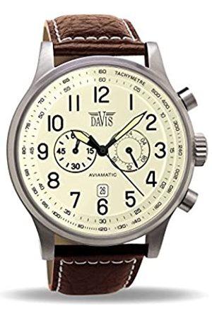 Davis 0453 - Mens Aviator Vintage Watch Chronograph Waterresist 50M Beige Dial Date Brown Leather Strap