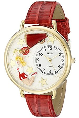 Whimsical Cheerleader Hunter Green Leather and Goldtone Unisex Quartz Watch with Dial Analogue Display and Leather Strap G-0820015