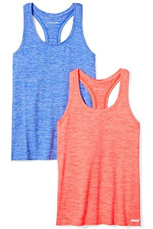 Amazon Essentials 2-pack Tech Stretch Racerback Tank Top T-Shirt, Fiery Coral Cobalt Heather