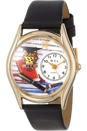 Whimsical Knowledge is Power Black Leather and Goldtone Unisex Quartz Watch with Dial Analogue Display and Leather Strap C-0640006