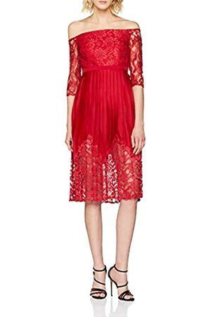 Little Mistress Women's Lace Top Midi Party Dress, (Crimson)