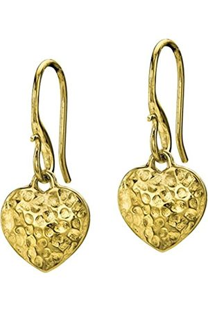 Dower & Hall Nomad Plated on Sterling Silver Beaten Heart Drop Earrings of Length 2.5cm