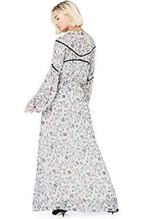 FIND Women's Floral Print Dress, Multicoloured (Ecru)