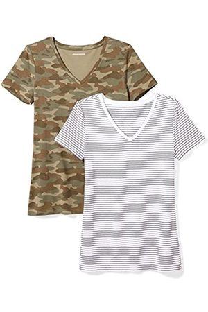 Amazon 2-pack Short-sleeve V-neck Patterned T-shirt ( Stripe/Camo Print)