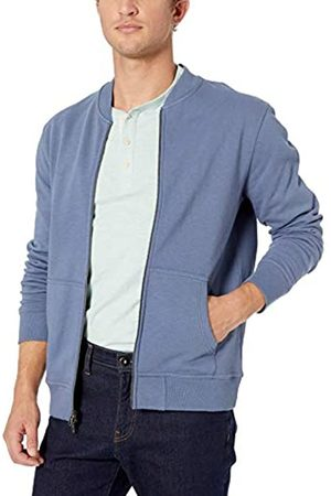 Goodthreads Men's Fleece Bomber Sweatshirt, Blue (Denim)