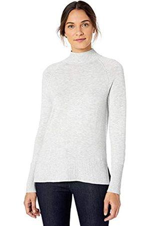 Lark & Ro Rib Detail Mock Neck Sweater Charcoal Heather