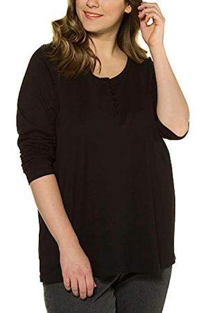 ULLA POPKEN Glitzer-Sweatshirt mit Volants schwarz NEU