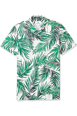 28 Palms Relaxed-Fit Hawaiian Performance Pique Polo Shirt / Palm Leaves