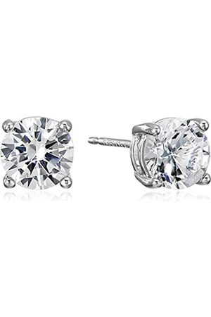 Amazon Essentials Sterling Silver Round Created Sapphire Birthstone Stud Earrings (April)