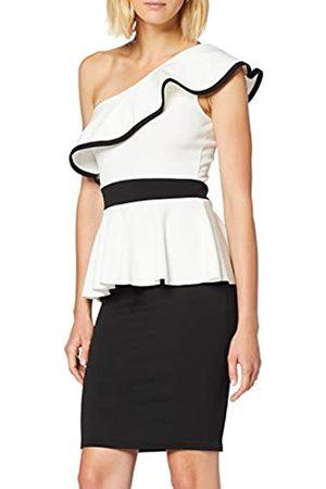 Quiz Women's Black & Cream ONE Shoulder Frill Peplum MIDI Dress Party