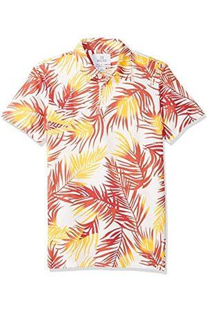 28 Palms Standard-Fit Hawaiian Performance Pique Polo Shirt Crimson/ Palm Leaves