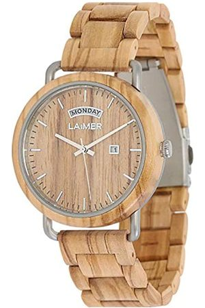 LAiMER Mens Analogue Quartz Watch with Wood Strap 111
