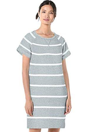 Goodthreads Modal Fleece Roll-Sleeve Sweatshirt Dress Heather Large Open Stripe