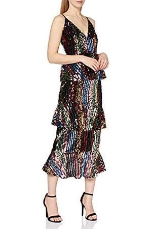 Little Mistress Women's Trixie Rainbow Sequin Tiered Ruffle Midi Dress Party