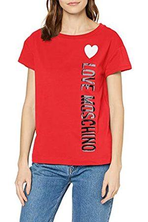 Love Moschino Women's Short Sleeve Jersey Stretch T-Shirt_Stripe Logo & Heart Print