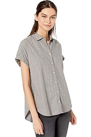 Goodthreads Solid Brushed Twill Short-sleeve Button-front Shirt Heather/Cream Open Stripe