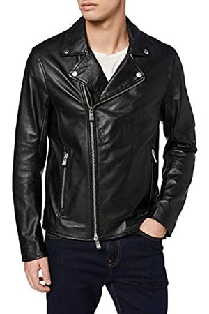Armani Exchange Men's Real Leather Biker Bomber Jacket