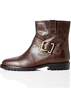 FIND Amazon Brand - Pull On Leather Buckle Biker Ankle Boots, Dk. )