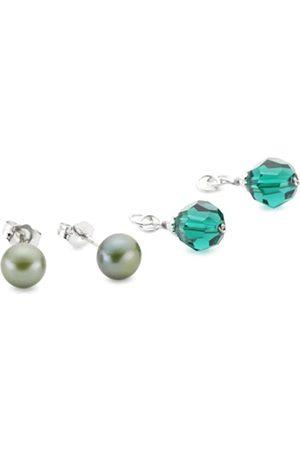 Sakura Pearl High Lustre Green/Grey 7.5 mm Round Freshwater Pearl Sterling Silver 925 Earrings