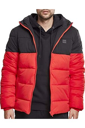 Urban classics Men's Hooded 2-Tone Puffer Jacket (firered/blk 01440)