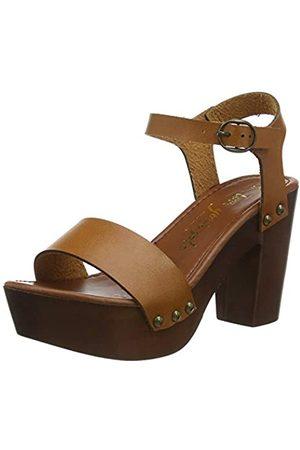 New Look Women's PERK-PU WOOD UNIT 2PT 100:18:S204 Platform Sandals, (Tan 18)