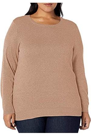 Amazon Plus Size Lightweight Crewneck Cardigan Sweater Camel Heather