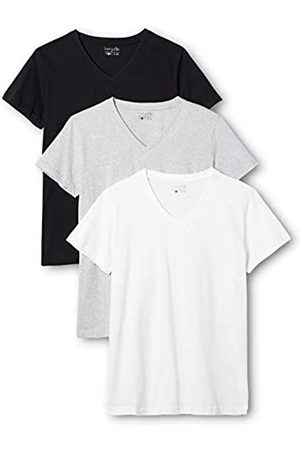 Berydale 3-Pack Women's T-Shirt with V-Neck in various colours, Multicoloured-Mehrfarbig (Schwarz/Weiß/Grau)