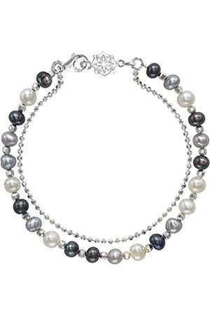 Dower & Hall Orissa Sterling Silver Mixed Freshwater Pearl Bead and Chain Bracelet of Length 18.5cm