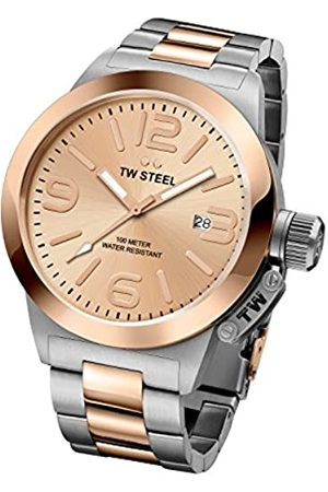 TW Steel Canteen Unisex Quartz Watch with Rose Dial Analogue Display and Stainless Steel Rose Plated Bracelet CB404