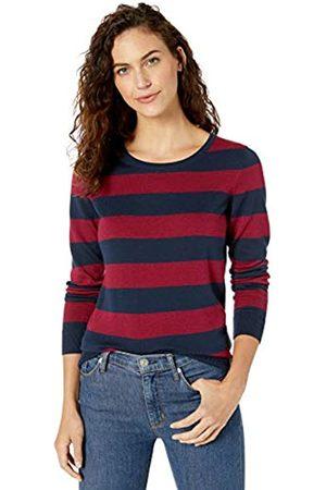 Amazon Essentials Lightweight Crewneck Sweater Navy/Burgundy Stripe