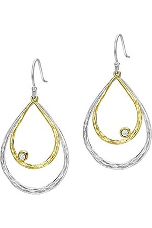 Dower & Hall Dewdrop and Yellow Gold Plated Double Teardrop White Topaz Drop Earrings