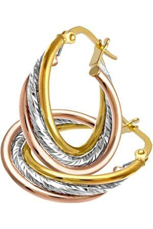 Citerna Diamond Cut Crossover Hoop 9 ct 3 Colour Earrings of 15 mm Diameter