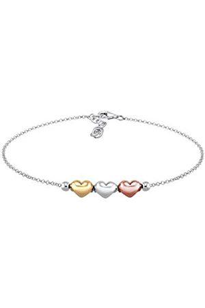Elli Women Genuine Jewellery Bracelet Bracelet Heart Love Friendship Proof of Love Tricolor 925 Sterling Rose Gold Plated Length 16 cm