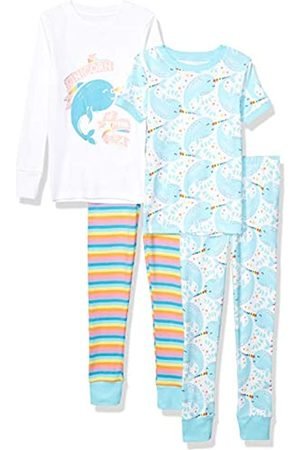 Spotted Zebra 4-piece Snug-fit Cotton Pajama Set Narwhals, X-Small / 4-5