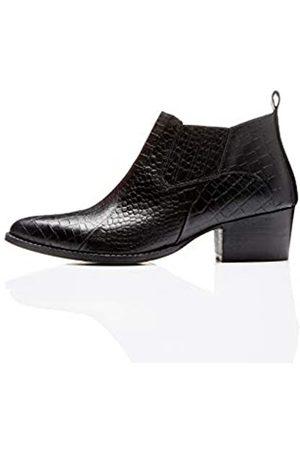 FIND Croc Embellished Leather Ankle Boots, )
