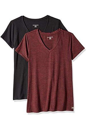 Amazon Essentials 2-Pack Tech Stretch Short-Sleeve V-Neck T-Shirt Burgundy Space Dye/