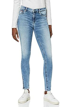 Tommy Hilfiger Women's Mid Rise Skinny Nora 7/8 Zip Orl Straight Jeans