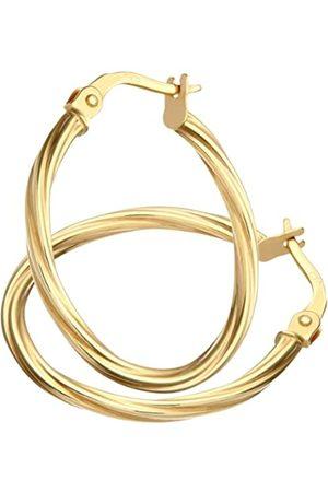 Citerna Women's 9 ct Textured Hoop Earrings of 2 cm Diameter