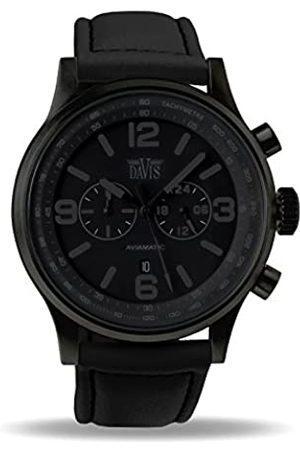 Davis Phantom Aviator 48mm Waterresist 50M Chronograph Lorica strap Watch