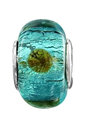Jo Sterling Shimmery Green Red Dot Murano Glass Bead