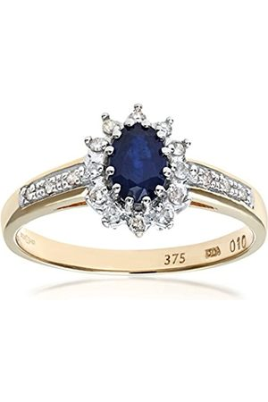 Naava Women's Sapphire and 12 Diamond Set Shoulders 9 ct Ring - Size O