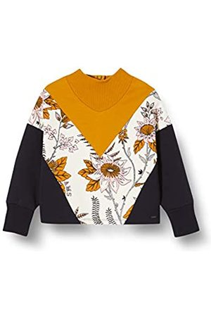 Scotch & Soda Girl's Colour Block Sweat with Turtle Neck and Floral Print Panel Sweatshirt