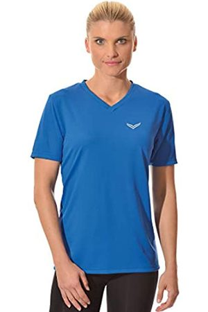 Trigema Women's Damen V-Shirt Coolmax T, -Blau (Electric 048)