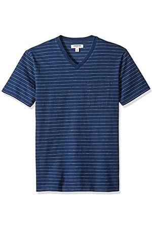 Goodthreads Men's Short-Sleeve Indigo V-Neck Pocket T-Shirt, Dark Narrow Stripe